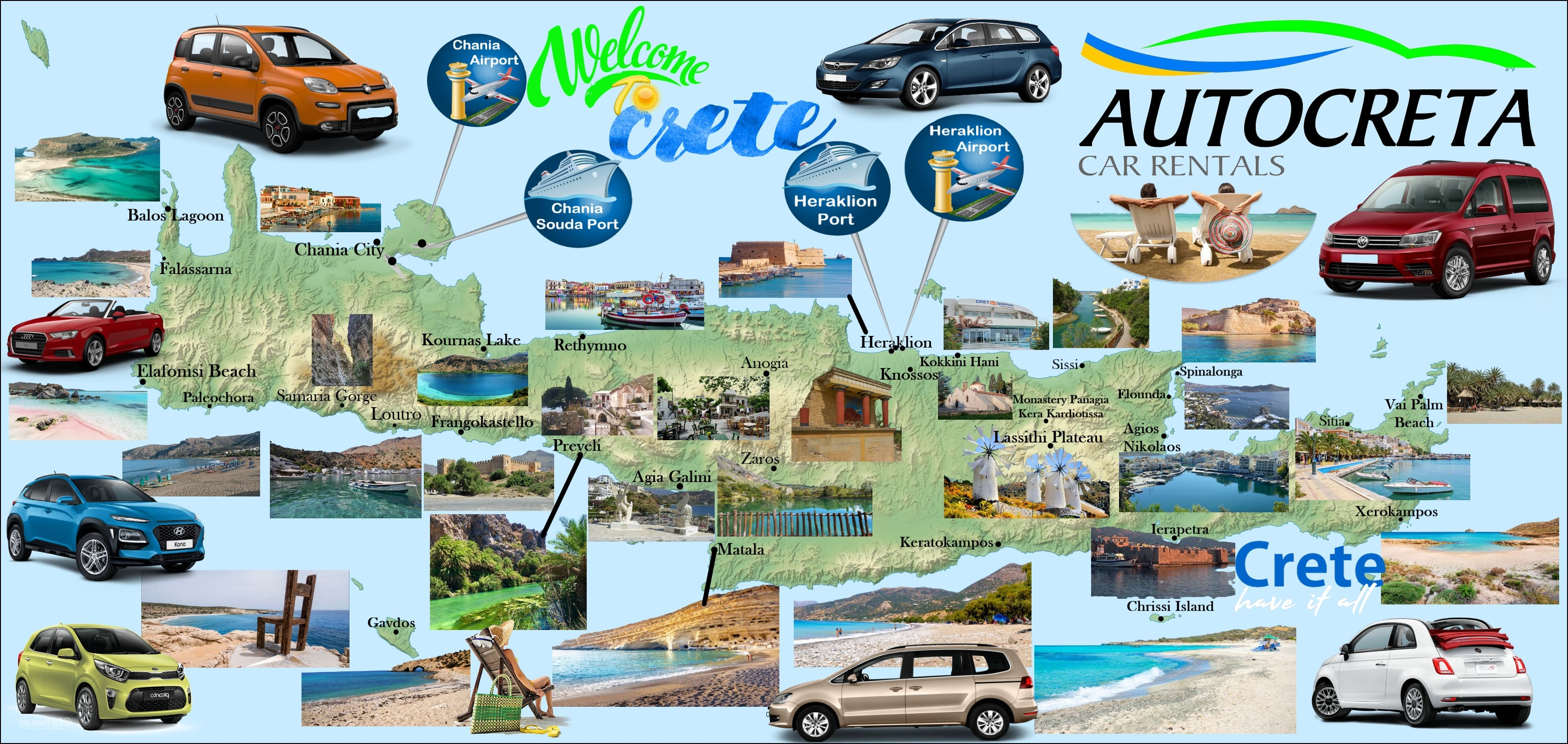 Map of Crete Autocreta Car Rentals